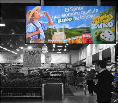 pantalla led interior supermercado