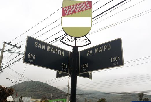 Foto de Indicador de calles, Av. Maipú - San Martín, San Felipe
